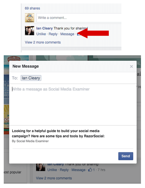 Sending private replies on Facebook pages